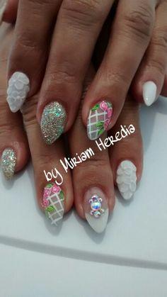 Flores 3D 3d, Nails, Beautiful, Beauty, Fingernail Designs, Flowers, Finger Nails, Ongles, Beauty Illustration