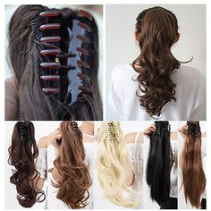 Clip In Ponytail Pony Tail Hair Extension Claw On Hair Piece Wavy Straight USA