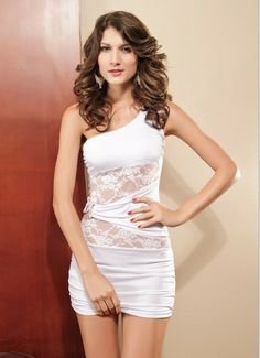 Black and white oblique double C buckle sleeveless lace sexy dress A79   10.99 bbfe89f643d1