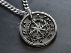 Custom Engraved Necklace, Personalized Necklace, Custom Necklaces, Thoughtful Gifts For Him, Buying Your First Home, Compass Rose, Engraved Gifts, Rose Necklace, Compass Necklace