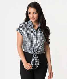 d93b36c58ea Retro Style Navy Blue   White Gingham Tie Button Up Crop Top