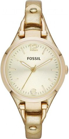 Fossil Georgia Watch - Women's Watches in Rose Gold Fossil Watches For Men, Women's Watches, Ladies Watches, Wrist Watches, Jewelry Watches, Brand Name Watches, Metallic Leather, Metallic Gold, Watch Brands