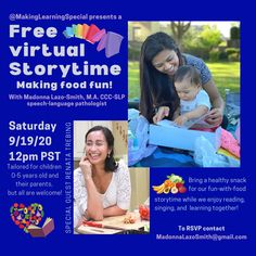 An interactive storytime with speech-language pathologist Madonna Lazo-Smith. 5 Year Olds, Speech And Language, Story Time, Madonna, Singing, Teacher, Writing, Learning, Random