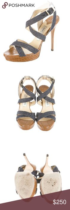 "Jimmy Choo denim platform Blue denim Jimmy Choo platform sandals with embossed leather covered heels and platforms, tonal stitching and gold-tone buckle closure at ankles. Includes box. Good condition. Moderate wear to soles. Measurements:?Heels 5"", Platforms 1"" Jimmy Choo  Shoes Platforms"