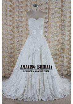 Vintage Lace wedding dress- corded lace sweetheart neckline A-line wedding dress bridal dress