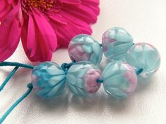 Blue/Pink Mini Chrysanthemums (6) - Caroline Dousi - $45.00