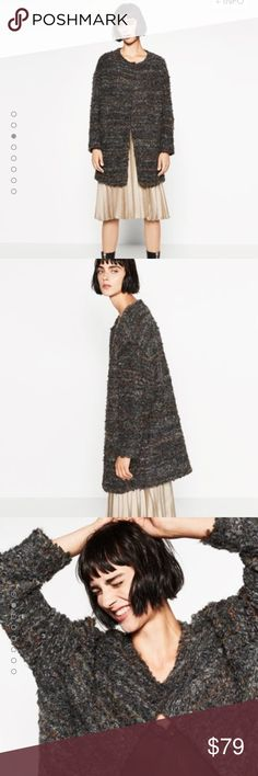 "Zara - Cute Oversized Charcoal Gray Sweater Coat Beautiful oversized sweater coat!  Lots of colors woven in and well made like all Zara coats.  25"" bust measured flat across from armpit to armpit  34"" long measured down the middle of the back Zara Jackets & Coats"