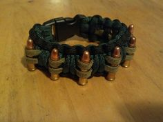 Paracord and Bullets Bracelet #550paracord #550cord #paracord #cord #bracelet #project #art #craft #bullet #weapon #survival
