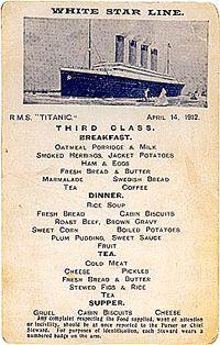 Titanic 3rd Class menu sheet