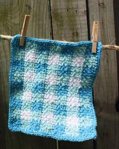 Lily Sugar'n Cream Free Pattern - Gingham Dishcloth (crochet)