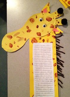 Giraffes cant dance.... students made the head by tracing their foot with their  shoe on, spots were made using fingerprints, writing attached along neck of giraffe