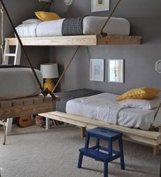 對於三個男生實用時尚節省空間臥室設計思路與DIY掛床