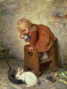 Hermann Kaulbach - Little Girl with a Rabbit