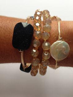 glitter + pearl bangles