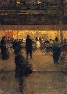 love the light.  Luigi Loir.  The Night Cafe, 1910.