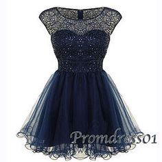 #promdress01 prom dresses - 2015 cute deep blue tulle short sleeve A-line prom dress, bridesmaid dress, occasion dress #prom2k15 -> www.promdress01.c... #coniefox #2016prom
