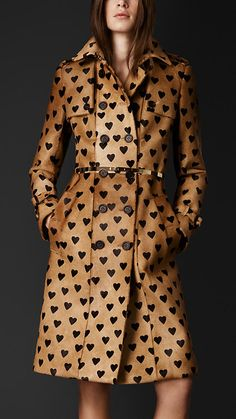Heart Print Calfskin Trench Coat by Burberry in tan and black