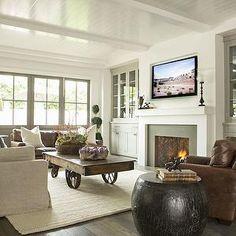Flatscreen TV over Fireplace - Transitional - living room - Jane Green