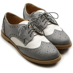 Ollio Women's Flat Shoe Wingtip Lace Up Two Tone Oxford ($19) ❤ liked on Polyvore