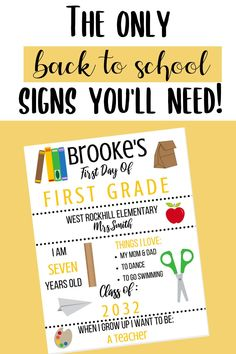 CUSTOMIZABLE 1st day of school sign. Like chalkboard signs? Well this 1st day of school printable is perfect for the first and last day of school! I will make this printable editable to fit your child! Great for kindergarten, first grade, second grade, and more. This homemade sign will make 1st day of school pictures stand out this year! 1st Day Of School Pictures, Last Day Of School, Back To School, First Grade, Second Grade, Curriculum, Homeschool, Homemade Signs, Teacher Name