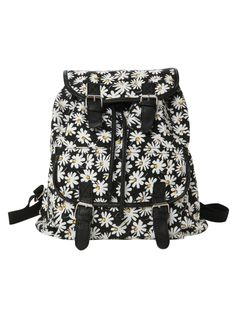 Slouch backpack with allover daisy print. Snap button and drawstring closures.
