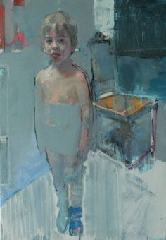 blue - child - figurative painting - Christos Tsimaris