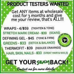 Try any of my products at my price. I need new before & after pics for my business portfolio. Tag pic, Leave ur email, or visit www.gowershealthjourney.com