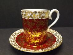 Royal Albert Bone China Tea Cup Saucer Burgandy Chintz Kingston Series England | eBay