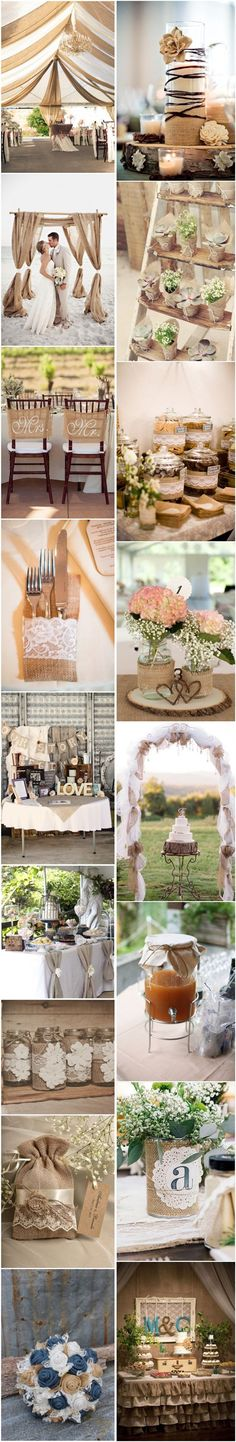 Chic-Rustic Burlap Wedding Decor Ideas / http://www.deerpearlflowers.com/50-chic-rustic-burlap-and-lace-wedding-ideas/3/