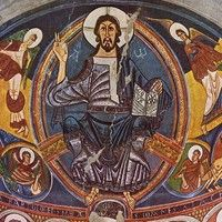 Romanesque Wall Painting (1123)  for the Church of St Clemente de Taull  Catalonia, Spain. By the Master of Taull.  Now in the National Museum of Catalan.  A treasure of Spanish religious art  from the medieval Romanesque era.