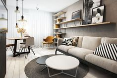 Today we'll show 10 tricks in order to give your home a modern and inviting look and feel. Modern design is perfect for decorating small spaces because it makes Living Pequeños, Living Spaces, Interior Design Living Room, Living Room Decor, Living Room Scandinavian, Living Room Stands, Concrete Interiors, Sala Grande, Attic Design