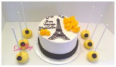 Paris themed cake and cake pops   sweetthingsbywendy.ca Paris Themed Cakes, Cake Pops, Sticks, Treats, Sweet, Desserts, Food, Sweet Like Candy, Candy