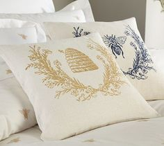 Bee pillows. Bees, in Christian symbolism, are associated with heavenly perfection.