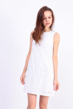 0912a2145aab Embroidered Eyelet Shift Dress (White) S  42.00 White Dress