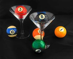 a photograph of two martini glasses holding billiard balls on a black background , edited in PhotoShop . Beer Party Decorations, Custom Pool Tables, Garage Game Rooms, Magic 8 Ball, Play Pool, Billiards Pool, Just A Game, Vintage Images, Martini