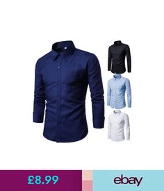 Casual Shirts & Tops Fashion Luxury Mens Formal Casual Suits Slim Fit Dress Shirts Tops 4 Colours #ebay #Fashion
