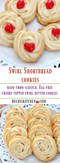Melt-in-your-mouth Cherry Topped Cookies are a splendid treat for school room party or any occasion. They are super easy to make and amazingly delicious! #swirlcookies #egglesscookies #eggless #eggfree #buttercookies #shortbread #eggfreeshortbread