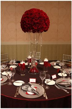 Weddings - A big pool of inspirations. romantic weddings theme red tips pinned on this date 20190218 wedding ref 9202451008 Romantic Centerpieces, Red Centerpieces, Quinceanera Centerpieces, Wedding Reception Decorations, Red Wedding Flowers, Bridal Flowers, Romantic Dinners, Romantic Weddings, Quince Dresses
