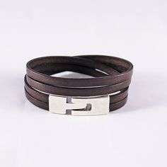 995af227af23 Bracelet cuir homme - cuir marron foncé et fermoir en argent- 2 tours de  poignet