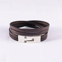 Bracelet cuir homme - cuir marron foncé et fermoir en argent- 2 tours de poignet : Bracelet par bracelets-cuir