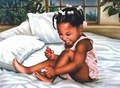 Young girl painting her nails Perfect for My little diva