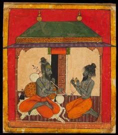 Type: Deities and ragas; Title: 'Ascetics making music, depicting the musical mode Kedara Raga', Arki, late century Mughal Paintings, Islamic Paintings, Indian Paintings, Indian Traditional Paintings, Traditional Art, Om Namah Shivaya, Indian Music, Krishna Art, Hindu Art