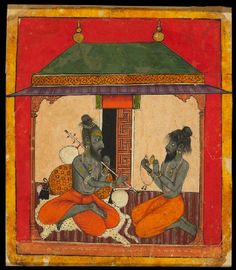 Style: Pahari; Type: Deities and ragas; Title: 'Ascetics making music, depicting the musical mode Kedara Raga', Arki, late 17th century
