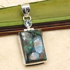 'Peaceful Wisdom' Shattuckite, Blue Topaz & .925 Sterling Silver Pendant