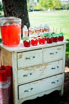 Vintage beverage center. Use drawers for storing extra napkins, silverware, etc.