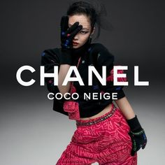 """CHANEL on Instagram: """"Flashes of colour — hints of pink illuminate the black in the CHANEL Coco Neige 2021/22 collection, embodied by artist and House ambassador…"""""""