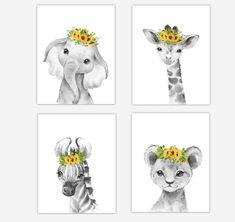 Baby Boy Nursery Decor, Giraffe Nursery, Safari Nursery, Animal Nursery, Nursery Wall Art, Wall Art Decor, Baby Room, Penguin Nursery, Yellow Nursery
