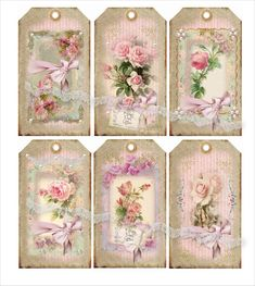 Some pretty floral shabby chic gift tags Vintage Tags, Vintage Labels, Vintage Ephemera, Vintage Prints, Vintage Roses, Decoupage Vintage, Vintage Paper, Card Tags, Gift Tags