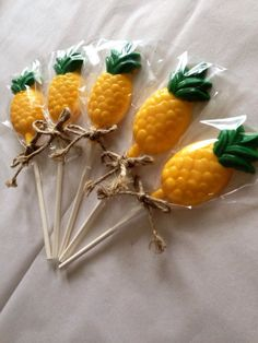 12 Pineapple Lollipops Sponge Bob Square Pants by CandKSweetShoppe
