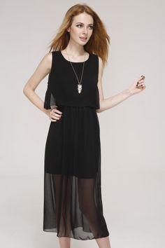 Black chiffon Bohemian long dress